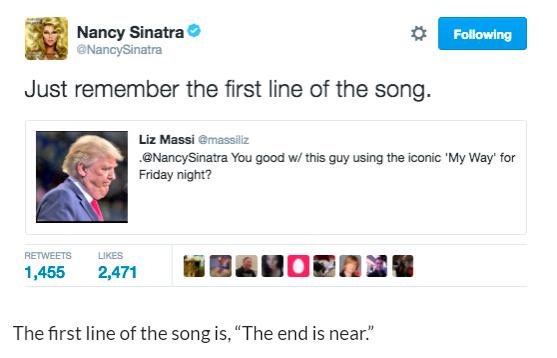 Nancy Sinatra twitter