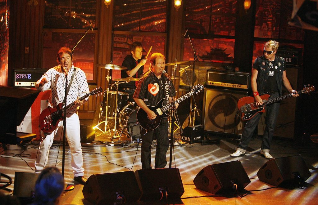 """LOS ANGELES - JULY 24: The Buzzcocks, with Steve Diggle (L), Pete Shelley, Steve Garvey and Danny Farrant (rear) perform at """"The Late Late Show with Craig Ferguson"""" at CBS Television City on July 24, 2006 in Los Angeles, California. (Photo by Kevin Winter/Getty Images)"""